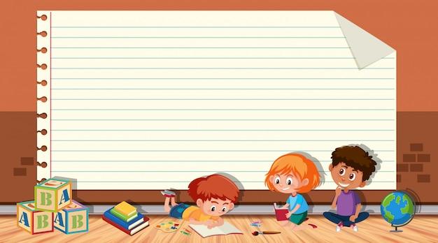 Modello di carta con libro di lettura per bambini