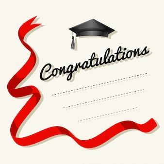Modello di carta con parola di congratulazioni