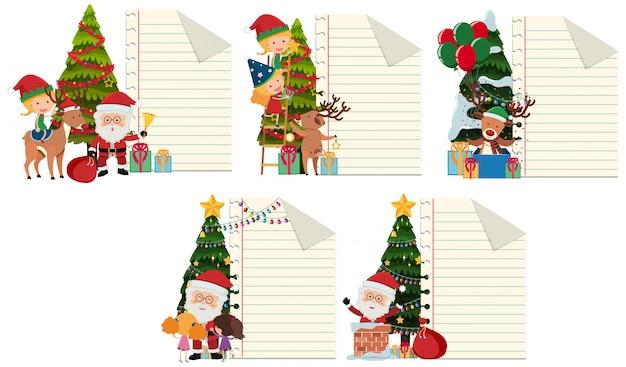 Modello di carta con tema natalizio in background