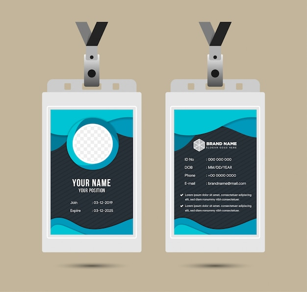 Modello di carta d'identità aziendale. set modificabile. il design id utilizza un motivo a linee spogliate, il colore blu è scuro e luminoso. forma circolare per foto. illustrazione della fotocamera sparatutto.