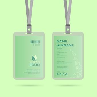 Modello di carta d'identità di cibo sano