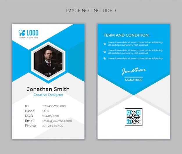 Modello di carta d'identità di office