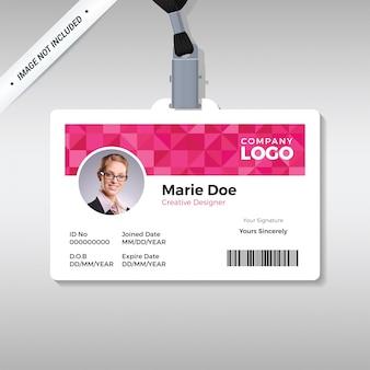 Modello di carta d'identità diamante rosa