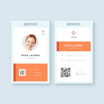 Modello di carta d'identità minima anteriore e posteriore