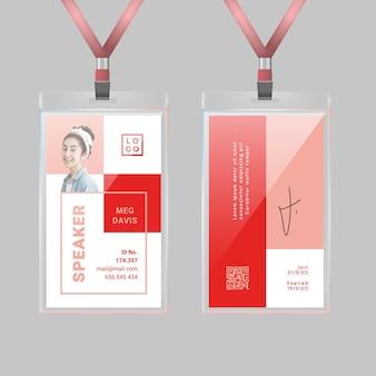 Modello di carta d'identità minimalista con foto