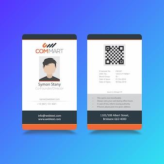 Modello di carta d'identità moderna azienda professionale