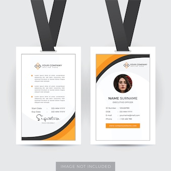 Modello di carta d'identità professionale dei dipendenti