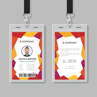 Modello di carta d'identità ufficio creativo