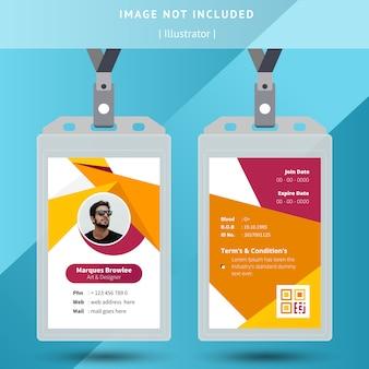 Modello di carta d'identità ufficio giallo