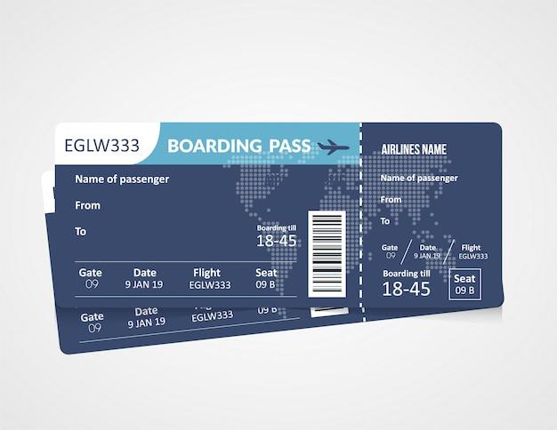 Modello di carta d'imbarco della compagnia aerea