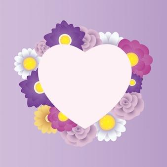 Modello di carta decorativa floreale con cornice cuore