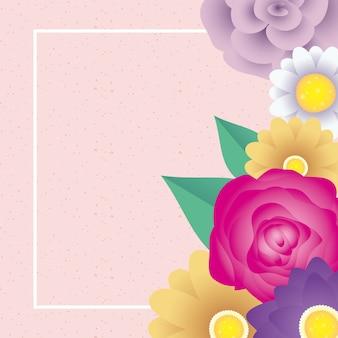 Modello di carta decorativa floreale con cornice quadrata