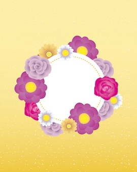 Modello di carta decorativa floreale con telaio a cerchio