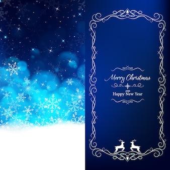Modello di carta dell'invito di natale come colore blu notte.