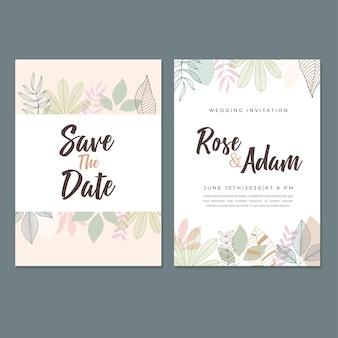 Modello di carta dell'invito di nozze, con foglia e disegno floreale