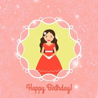 Modello di carta di buon compleanno con la principessa