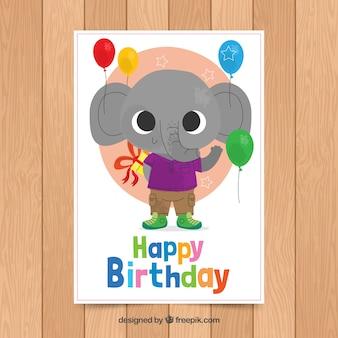 Modello di carta di compleanno con elefante carino