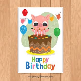 Modello di carta di compleanno con maiale carino