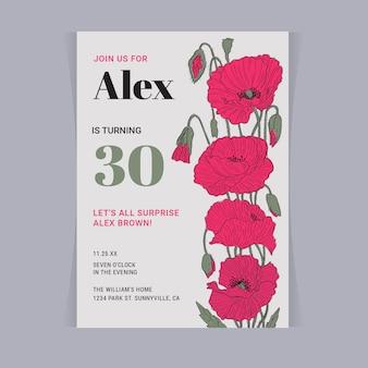 Modello di carta di compleanno floreale