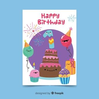 Modello di carta di compleanno personaggi disegnati a mano carino prima