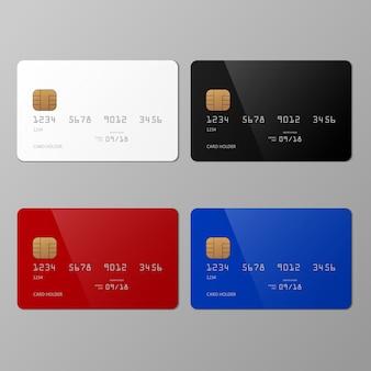 Modello di carta di credito realistico bianco, nero, rosso e blu con ombra