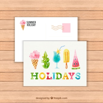 Modello di carta di estate dell'acquerello con gelato e cocktail