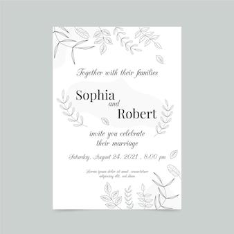 Modello di carta di fidanzamento con elementi eleganti