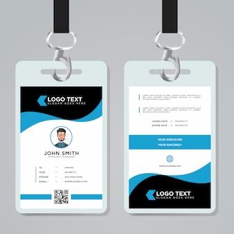 Modello di carta di identità aziendale blu di colore