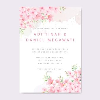 Modello di carta di invito a nozze con cornice floreale cherry blossom