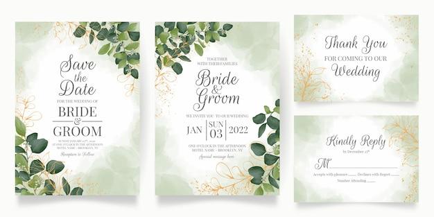 Modello di carta di invito a nozze con decorazione di foglie di acquerello