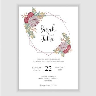 Modello di carta di invito a nozze floreale