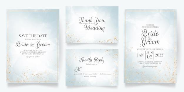 Modello di carta di invito a nozze impostato con decorazione ad acquerello