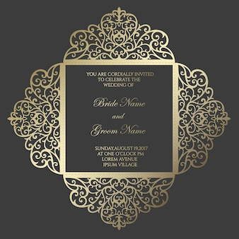 Modello di carta di invito a nozze taglio laser quadrato quattro volte. design per modello laser cut o die cut. matrimonio ornamentale invito mockup.