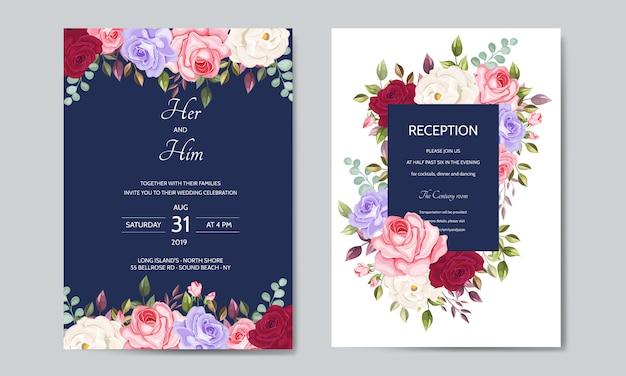 Modello di carta di invito bel matrimonio con foglie floreali