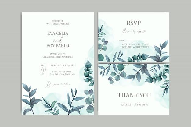 Modello di carta di invito bel matrimonio con sfondo floreale dell'acquerello