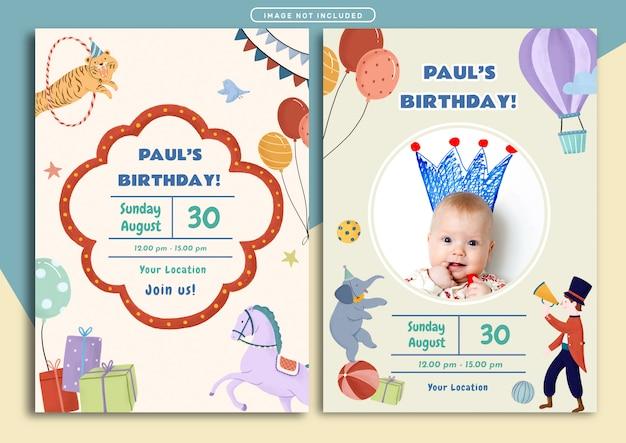 Modello di carta di invito compleanno compleanno tema del circo