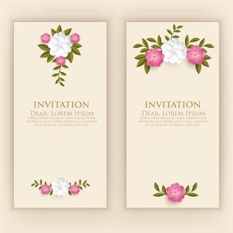 Modello di carta di invito con elegante decorazione floreale