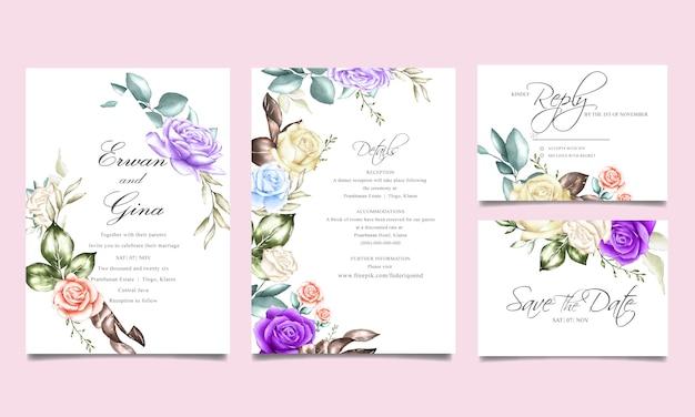 Modello di carta di invito di nozze con acquerello floreale e foglie