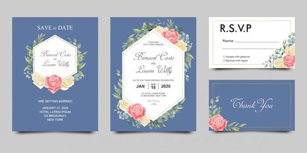 Modello di carta di invito di nozze con fiori ad acquerelli