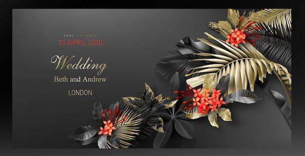 Modello di carta di invito di nozze con foglie nere e oro tropicale