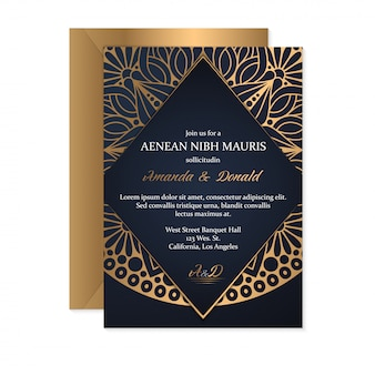 Modello di carta di invito di nozze con stile etnico, design orientale