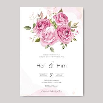 Modello di carta di invito di nozze impostato con belle foglie floreali