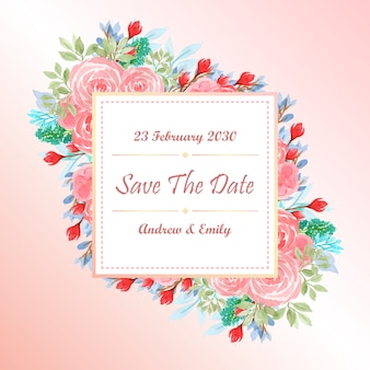 Modello di carta di invito matrimonio acquerello con fiori rosa