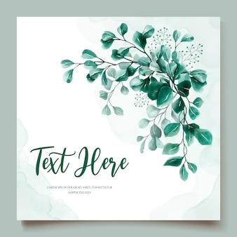 Modello di carta di invito matrimonio acquerello eucalipto
