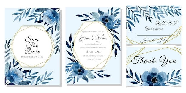 Modello di carta di invito matrimonio blu con acquerello floreale
