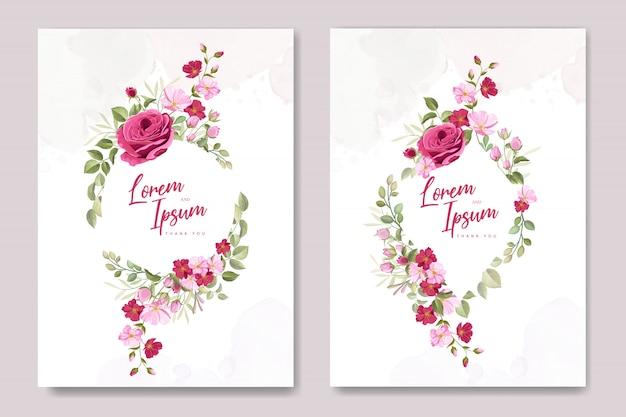 Modello di carta di invito matrimonio con belle rose rosa