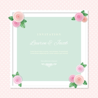 Modello di carta di invito matrimonio con cornice quadrata decorata con rose.