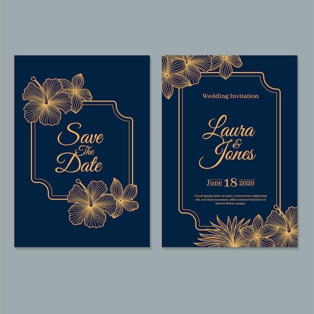Modello di carta di invito matrimonio, con foglie e fiori