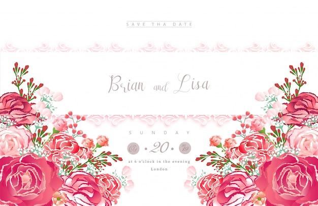 Modello di carta di invito matrimonio con stile di bellissimi fiori.