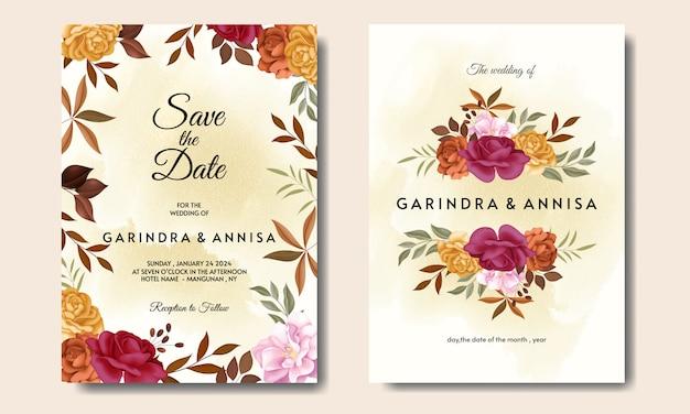 Modello di carta di invito matrimonio cornice floreale bella autunno